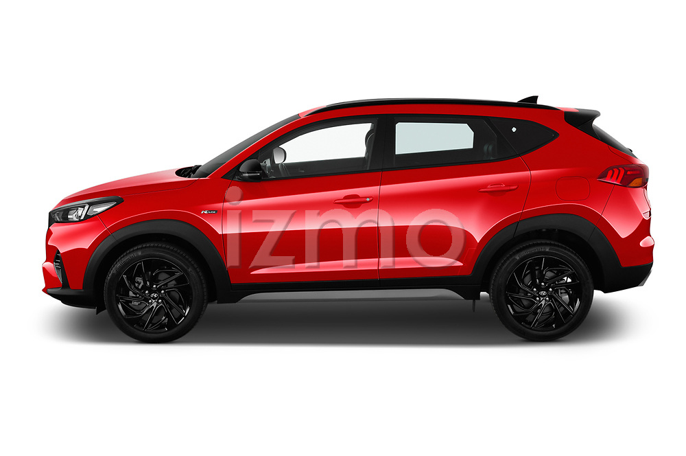 Car driver side profile view of a 2019 Hyundai Tucson N-Line 5 Door SUV
