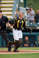 Bradenton Marauders catcher Deon Stafford (37) tracks a foul ball popup during a Florida State League game against the Palm Beach Cardinals on May 10, 2019 at LECOM Park in Bradenton, Florida.  Bradenton defeated Palm Beach 5-1.  (Mike Janes/Four Seam Images)