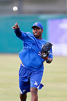 Pedro Baez #45 of the Rancho Cucamonga Quakes before a game against the Inland Empire 66'ers at San Manuel Stadium on April 24, 2013 in San Bernardino, California. Inland Empire defeated Rancho Cucamonga, 2-1. (Larry Goren/Four Seam Images)