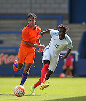 Trevoh Chalobah (Chelsea) of England U19 battles with Mitchell Van Rooijen (Jong FC Utrecht) of Holland during the International match between England U19 and Netherlands U19 at New Bucks Head, Telford, England on 1 September 2016. Photo by Andy Rowland.