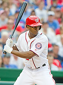 Washington Nationals center fielder Michael Taylor (3) bats in the tenth inning against the Chicago Cubs at Nationals Park in Washington, D.C. on Wednesday, June 15, 2016.  The Nationals won the game 5 - 4 in 12 innings.<br /> Credit: Ron Sachs / CNP