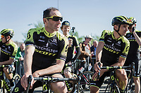 Michael Albasini (SUI/Mitchelton Scott) and Roman Kreuziger (CZE/Mitchelton Scott) awaiting the pre race team presentation. <br /> <br /> 82nd La Fl&egrave;che Wallonne 2018<br /> 1 Day Race: Seraing - Huy (198,5km)