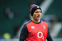 England Defence Coach Paul Gustard looks on during the pre-match warm-up. Old Mutual Wealth Series International match between England and South Africa on November 12, 2016 at Twickenham Stadium in London, England. Photo by: Patrick Khachfe / Onside Images