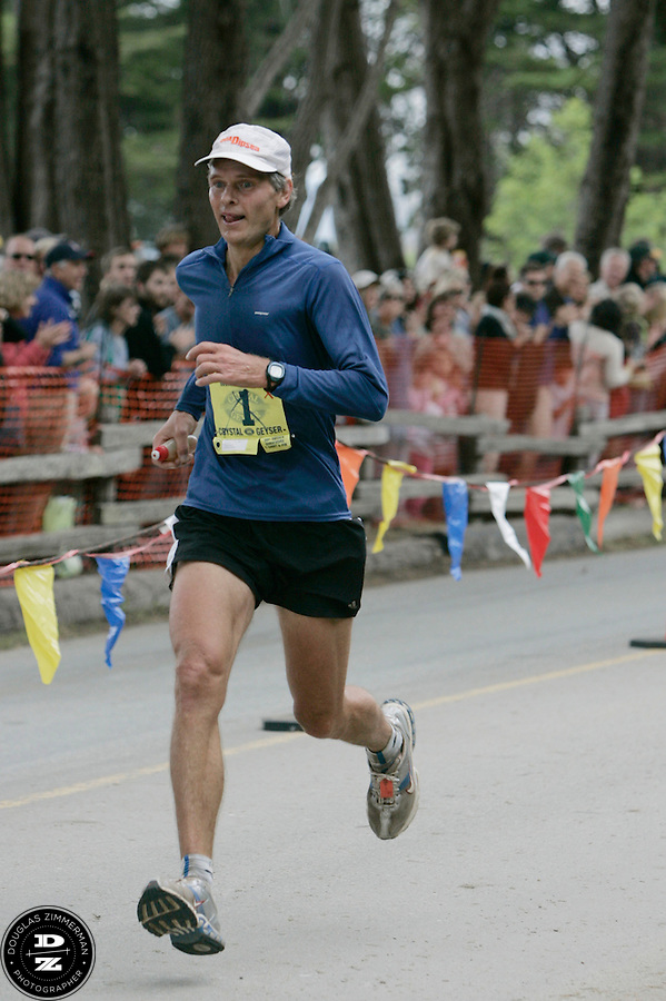 Last-year's winner Roy Rivers (1) races towards the finish line at the 99th running of the Dipsea Race at Sintson Beach State Park on Sunday June 14th, 2009.