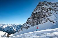 Ski touring beneath the Schwarzhorn while on the way to the Wildgärst, Grindelwald, Switzerland
