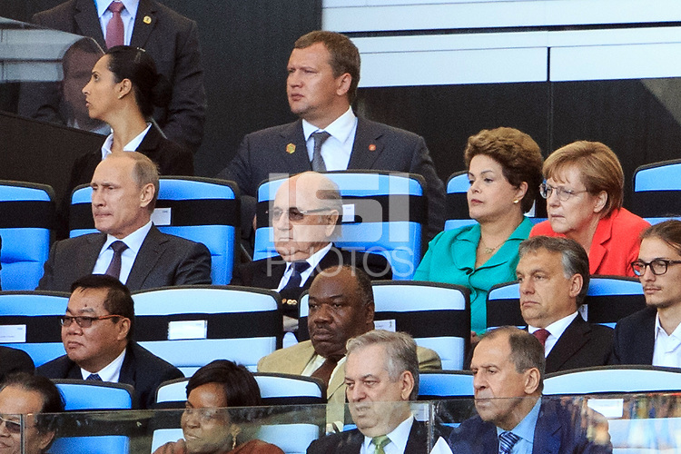 Vladimir Putin the President of Russia and FIFA President Sepp Blatter with Brazil President Dilma Rousseff and Chancellor of Germany Angela Merkel