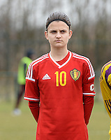 20150226 - Tubize , Belgium : Belgian Amber De Priester pictured during the friendly female soccer match between Women under 17 teams of  Belgium and Scotland  . Thursday 26th February 2015 . PHOTO DAVID CATRY