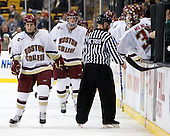 Pat Mullane (BC - 11), Brian Dumoulin (BC - 2) - The Boston College Eagles defeated the Harvard University Crimson 6-0 on Monday, February 1, 2010, in the first round of the 2010 Beanpot at the TD Garden in Boston, Massachusetts.