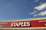Staples office supply signage.