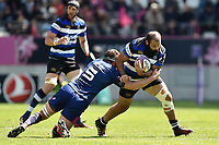Kane Palma-Newport of Bath Rugby takes on the Stade Francais defence. European Rugby Challenge Cup Semi Final, between Stade Francais and Bath Rugby on April 23, 2017 at the Stade Jean-Bouin in Paris, France. Photo by: Patrick Khachfe / Onside Images