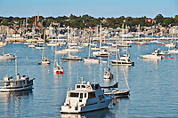 Boats in harbor, Newport, RI, Rhode Island, USA