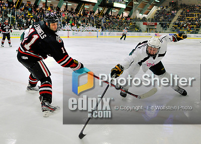 28 January 2012: University of Vermont Catamount forward Brett Bruneteau, a Graduate from Omaha, NB, tries to get the puck away from Justin Daniels (11) of the Northeastern University Huskies at Gutterson Fieldhouse in Burlington, Vermont. The Catamounts, dressed in their Breast Cancer Awareness jerseys, fell to the Huskies 4-2 in the second game of their 2-game Hockey East weekend series. Mandatory Credit: Ed Wolfstein Photo