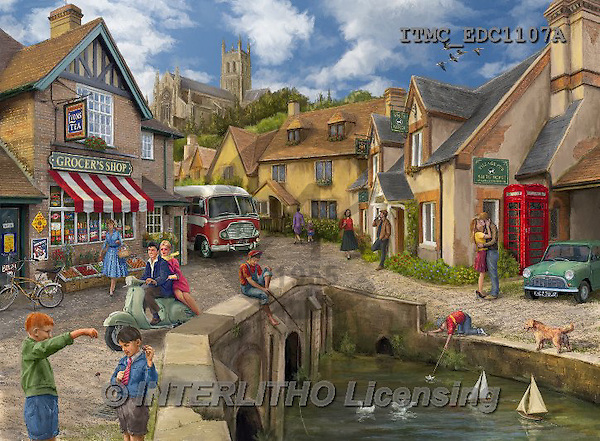 Marcello, LANDSCAPES, LANDSCHAFTEN, PAISAJES,,british village,english village,puzzle, paintings+++++,ITMCEDC1107A,#L# ,puzzles