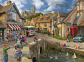 Marcello, LANDSCAPES, LANDSCHAFTEN, PAISAJES,,british village,english village,puzzle, paintings+++++,ITMCEDC1107A,#L#