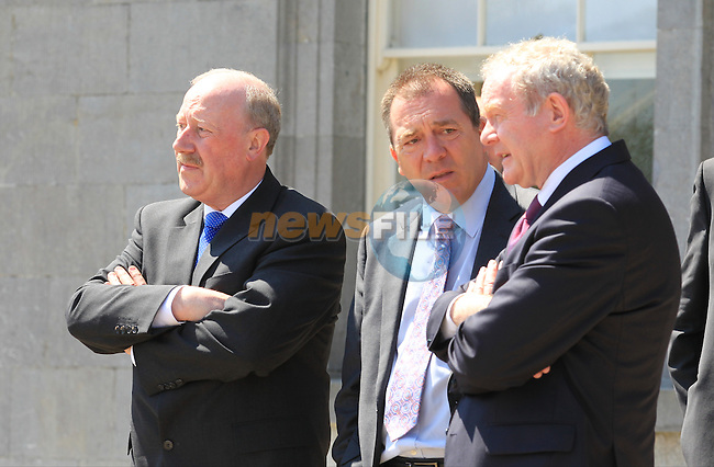 Matt Bagott Chief of PSNI and Garda Commissioner Martin Callinan  and Martin MCGuinness<br /> at the renaming of the Mary McAleese Boyne Valley bridge at Oldbridge house<br /> Picture:  Fran Caffrey / www.newsfile.ie