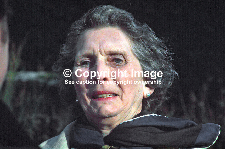 Mrs Irene Calvert, widow of Cecil Calvert, who was director of neurosurgery at the Royal Victoria Hospital, Belfast, who in 1971 became the second wife of Lord Brookeborough, 1st Viscount. 197102000105e.<br />
