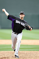Andrew Johnston of the Colorado Rockies plays in a spring training game against the Arizona Diamondbacks at Salt River Fields on February 26, 2011  in Scottsdale, Arizona. .Photo by:  Bill Mitchell/Four Seam Images.