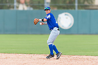 Team Italy second baseman Ricardo Paolini (1) prepares to make a throw to first base during an exhibition game against the Oakland Athletics at Lew Wolff Training Complex on October 3, 2018 in Mesa, Arizona. (Zachary Lucy/Four Seam Images)