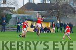 Austin Stacks Joseph O'Connor and Dingle's Mikey Geaney take to the air trying to gain possession in the County Football league Div 1 play off in Connolly Park on Sunday.