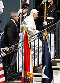 U.S. President George W. Bush and Pope Benedict XVI walk up stairs to the Truman Balcony during a South Lawn welcoming ceremony at the White House in Washington, D.C. USA 16 April 2008. During their Oval Office meeting today Pope Benedict XVI is expected  to raise topics such as the Iraq war and immigration.