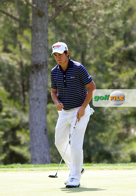 Matteo Manassero (ITA) on the 8th green on Day 1 of the 2012 Open de Andalucia Costa del Sol at Aloha Golf Club, Marbella, Spain...(Photo Jenny Matthews/www.golffile.ie)