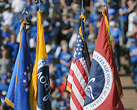 October 22, 2016 - Colorado Springs, Colorado, U.S. -   The colors are presented prior to the NCAA Football game between the University of Hawaii Rainbow Warriors and the Air Force Academy Falcons, Falcon Stadium, U.S. Air Force Academy, Colorado Springs, Colorado.  Hawaii defeats Air Force in double overtime 43-27.