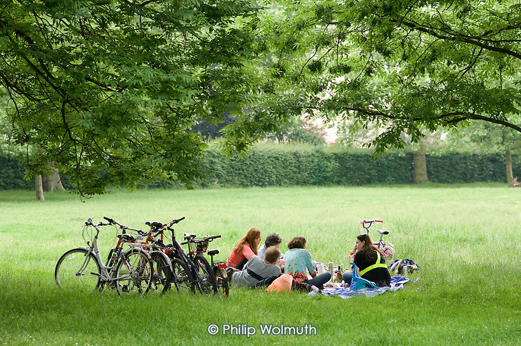 Picnic with bicycles, Regents Park, London
