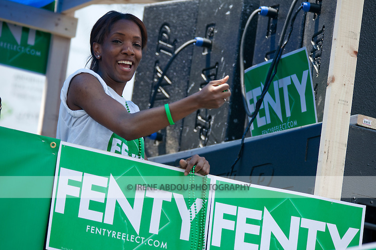 Supporters of Mayor Adrian M. Fenty head up the parade at the 2010 DC Caribbean Carnival in Washington, DC.