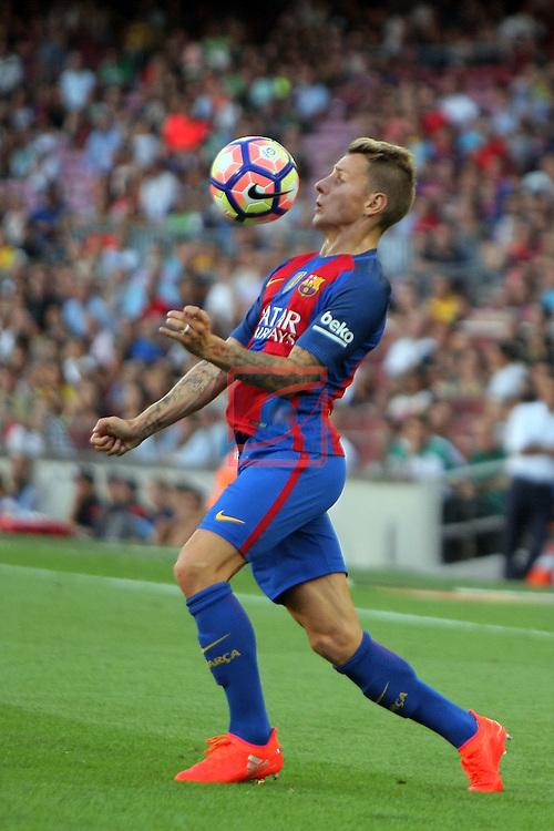 League Santander 2016/2017. Game: 1.<br /> FC Barcelona vs Real Betis: 6-2.<br /> Lucas Digne.