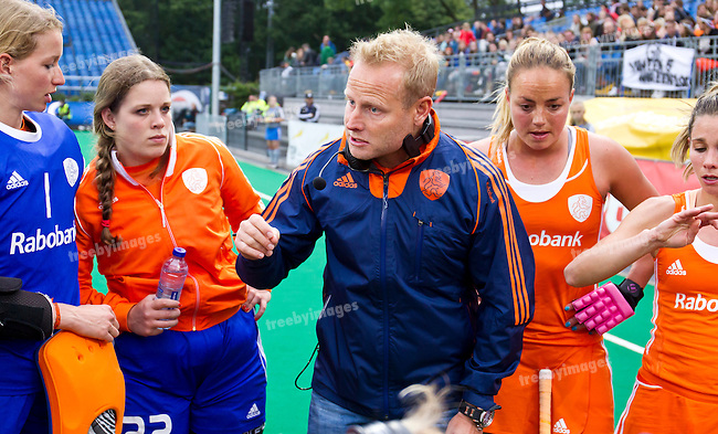 23/06/2015<br /> HWL Semi Final Antwerp Belgium 2015<br /> Japan v Netherlands Women<br /> Netherlands coach Sjoerd Marijne <br /> Photo: Grant Treeby