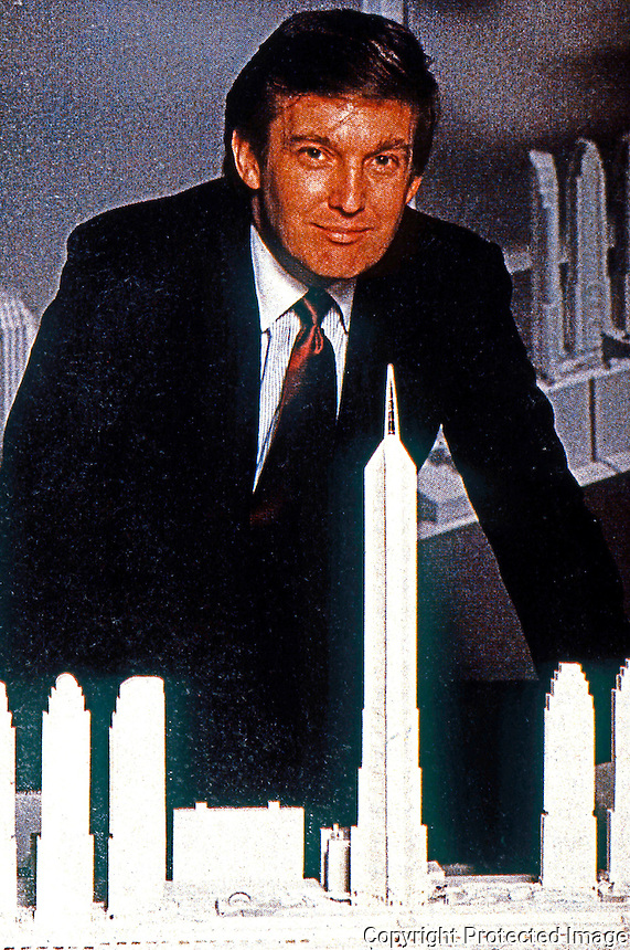 """Helmut Jahn: Donald Trump posing with Jahn-designed tallest building in world for Trump's proposed """"Television City"""".  (Newsweek Dec. 2, 1985)."""