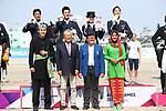 (L-R) <br /> Masanao Takahashi, <br /> € Kazuki Sado, <br />  Akane Kuroki, <br />  Shunsuke Terui (JPN), <br /> AUGUST 20, 2018 - Equestrian : <br /> Dressage Team Medal ceremony <br /> at Jakarta International Equestrian Park <br /> during the 2018 Jakarta Palembang Asian Games <br /> in Jakarta, Indonesia. <br /> (Photo by Naoki Nishimura/AFLO SPORT)