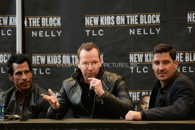 WWW.ACEPIXS.COM<br /> January 20, 2015 New York City<br /> <br /> Danny Wood, Donnie Wahlberg, and Jonathan Knight attending a New Kids on The Block Press Conference at Madison Square Garden on January 20, 2015 in New York City. <br /> <br /> By Line: Kristin Callahan/ACE Pictures<br /> ACE Pictures, Inc.<br /> tel: 646 769 0430<br /> Email: info@acepixs.com<br /> www.acepixs.com