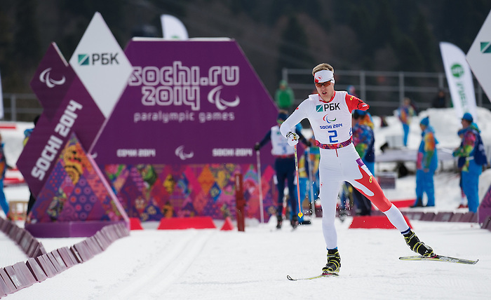 Sochi, RUSSIA - Mar 8 2014 -  Mark Arendz sets out on his Silver medal performance in the 7.5km standing biathlon at 2014 Paralympic Winter Games in Sochi, Russia.  (Photo: Matthew Murnaghan/Canadian Paralympic Committee)