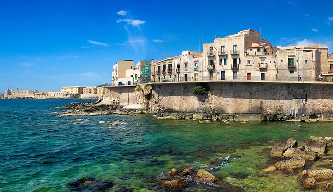 Town houses  and sea wall, Syracuse ( Siracusa) , Sicily