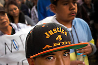 Omar Tellez, 13, who was friends with Andy Lopez in school, wears a hat calling for justice during a protest march and rally against the killing of Andy Lopez, in Santa Rosa, Calif., on October 30, 2013. Lopez, 13-years-old, was shot and killed by a Sonoma County sheriff's deputy eight days earlier, while carrying an Airsoft BB gun that looked like an AK-47 assault rifle. (Alvin Jornada / The Press Democrat)