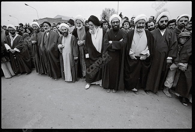 Clerics march toward Shahyad Square in support of Ayatollah Khomeini. Tehran, January 19, 1979