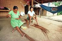 Mulheres werekena participam da produção de artesanato feito com fibras de piaçaba(Leopoldínia píassaba Wall). A fibra , um dos principais produtos geradores de renda na região é coletada de forma rudimentar. Até hoje é utilizada na fabricação de cordas para embarcações, chapéus, artesanato e principalmente vassouras, que são vendidas em várias regiões do país.<br />Alto rio Xié, fronteira do Brasil com a Colômbia a cerca de 1.000Km oeste de Manaus.<br />06/06/2002.<br />Foto: Paulo Santos/Interfoto Expedição Werekena do Xié<br /> <br /> Os índios Baré e Werekena (ou Warekena) vivem principalmente ao longo do Rio Xié e alto curso do Rio Negro, para onde grande parte deles migrou compulsoriamente em razão do contato com os não-índios, cuja história foi marcada pela violência e a exploração do trabalho extrativista. Oriundos da família lingüística aruak, hoje falam uma língua franca, o nheengatu, difundida pelos carmelitas no período colonial. Integram a área cultural conhecida como Noroeste Amazônico. (ISA)