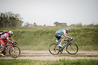 Matthias Brändle (AUT/Israel Cycling Academy) racing over the Breton gravel roads<br /> <br /> 36th TRO BRO LEON 2019 (FRA)<br /> One day race from Plouguerneau to Lannilis (205km)<br /> <br /> ©kramon