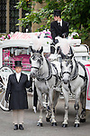 © Joel Goodman - 07973 332324 . 09/08/2013 . Salford , UK . The horse drawn cortege leaves the church . The funeral of Linzi Ashton at St Paul's C of E Church in Salford , today (9th August 2013) . Linzi Ashton (25) was found murdered in her home on Westbourne Road in Salford on 29th June . Michael Cope is standing trial, accused of murdering, raping and assaulting her . Photo credit : Joel Goodman