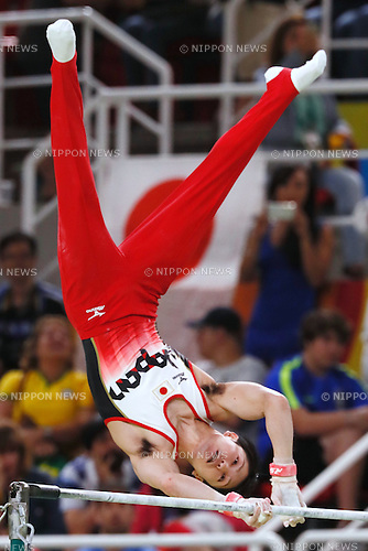 Kohei Uchimura (JPN), <br /> AUGUST 8, 2016 - Artistic Gymnastics : <br /> Men's Final  <br /> Horizontal Bar   <br /> at Rio Olympic Arena <br /> during the Rio 2016 Olympic Games in Rio de Janeiro, Brazil. <br /> (Photo by Sho Tamura/AFLO SPORT)