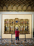 14th century icon screen Politico Lion con l'Annunciazione, by Lorenzo Veneziano, Academy Gallery, Venice,