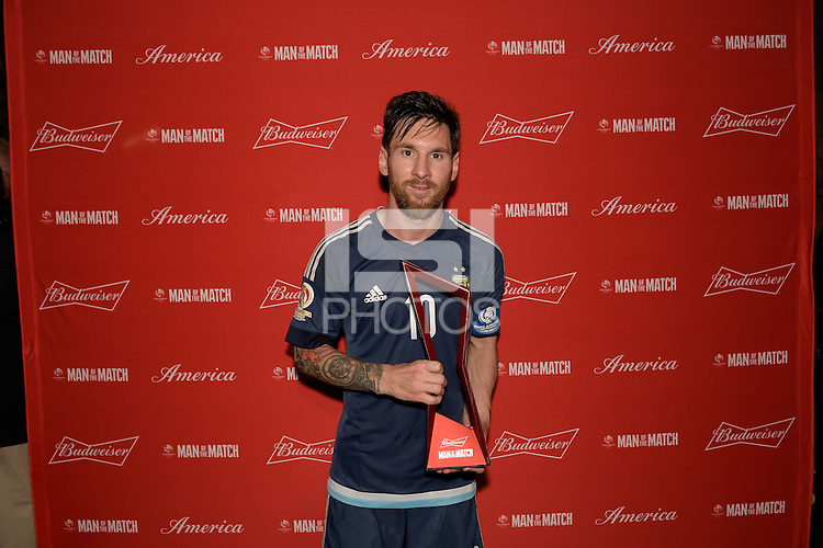 Houston, TX - Tuesday June 21, 2016: Lionel Messi after a Copa America Centenario semifinal match between United States (USA) and Argentina (ARG) at NRG Stadium.