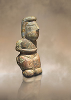 Middle Neolithic quartzose sandstone statue of a goddess from the archaeological site of Cott'e Baccas in Segarlu, Sardinia,. Museo archeologico nazionale, Cagliari, Italy. (National Archaeological Museum)  - Art Background