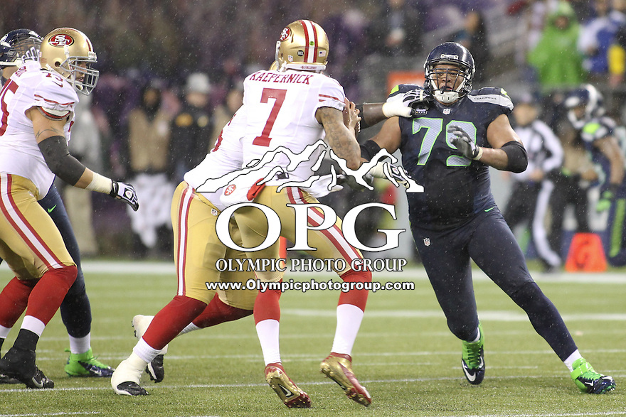 Dec 23, 2012:  Seattle Seahawk's Red Bryant against the San Francisco during Sunday nights game of the week at Century Link Stadium in Seattle WA.  Seattle defeated San Francisco 42-13.