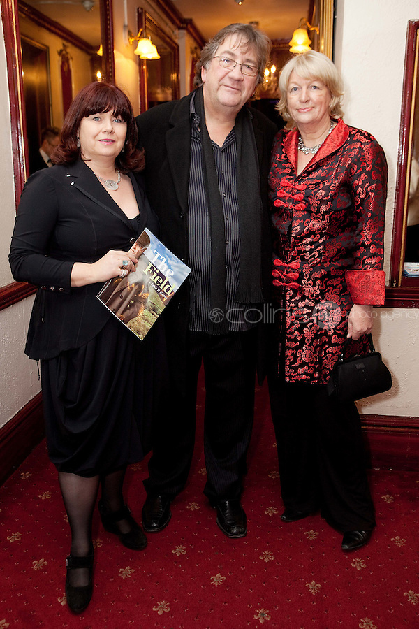 "NO REPRO FEE. 17/1/2010. The Field opening night.  Breda Cashe, Alan Stanford and Pat Moylan are pictured at the Olympia Theatre for the opening night of John B Keanes 'The Field"" Picture James Horan/Collins"