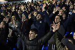 Southend United 1 Burton Albion 1, 22/02/2016. Roots Hall, League One. Home supporters in the west stand reacting with delight at the final whistle  as Southend United took on Burton Albion in a League 1 fixture at Roots Hall. Founded in 1906, Southend United moved into their current ground in 1955, the construction of which was funded by the club's supporters. Southend won this match by 3-1, watched by a crowd of 6503. Photo by Colin McPherson.