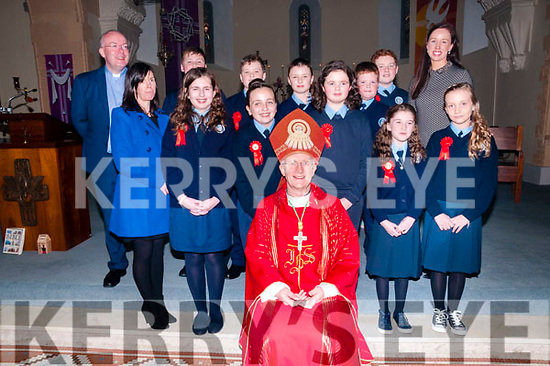 The pupils from Ballylongford national school who were confirmed in Ballylongford  church  by Bishop Ray Browne on Friday last with their teachers M/S O'Sllivan  &amp; M/s Brick &amp; Fr.Kennelly, PP Ballylongford.<br /> Church of St Michael the Archangel, Ballylongford