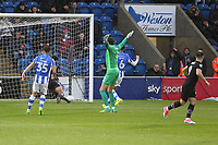 Scott Hogan of Aston Villa (right) gets the first goal of the game during Colchester United vs Aston Villa, Caraboa Cup Football at the Weston Homes Community Stadium on 9th August 2017