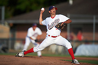 Auburn Doubledays relief pitcher Kevin Mooney (33) during a game against the Mahoning Valley Scrappers on July 17, 2016 at Falcon Park in Auburn, New York.  Mahoning Valley defeated Auburn 3-2.  (Mike Janes/Four Seam Images)